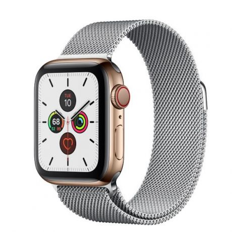 Apple Watch Series 5 Gold Stainless Steel Case 44mm GPS + Cellular Silver with Milanese Loop