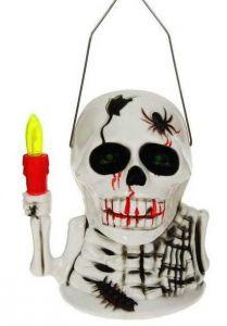 Фонарь Скелет со свечкой (16 см)