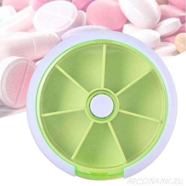 Автоматическая таблетница с 7-ю отделениями, Цвет: Зелёный