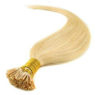 Натуральные волосы на кератиновой капсуле I-тип, №060 Блонд - 55 см, 100 капсул.