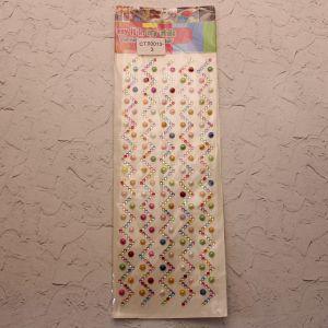`Стразы(бусины) клеевые на листе 9,5*26,5см, Арт. Р-СТЛ0013-3