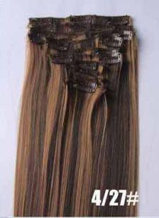 Искусственные термостойкие волосы на заколках №4/27 (55 см) - 7 заколок, 100 гр.