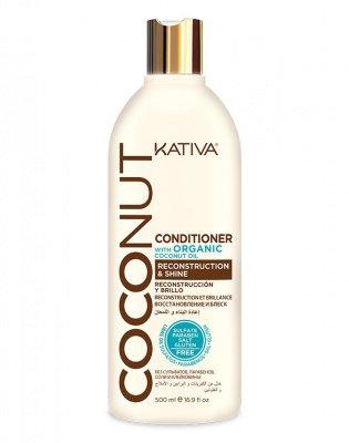 Восстанавливающий кондиционер с кокосовым маслом для поврежденных волос Coconut, Kativa, 500 мл