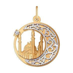Подвеска мусульманская из комбинированного золота с алмазной гранью с фианитом 033277 SOKOLOV