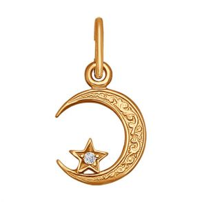 Подвеска мусульманская из золота с фианитом 030054 SOKOLOV