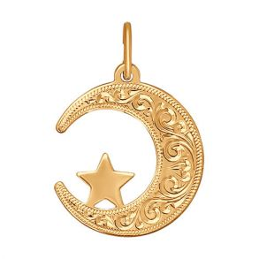 Подвеска мусульманская из золота с гравировкой 032823 SOKOLOV