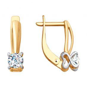 Серьги из золота со Swarovski Zirconia 81020356 SOKOLOV