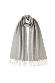 Однотонный кашемировый шарф (100% драгоценный кашемир), цвет Серебро SILVER CLASSIC cashmere, высокая плотность 7