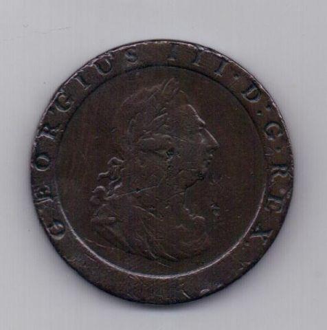 1 пенни 1797 года Колесо телеги Великобритания