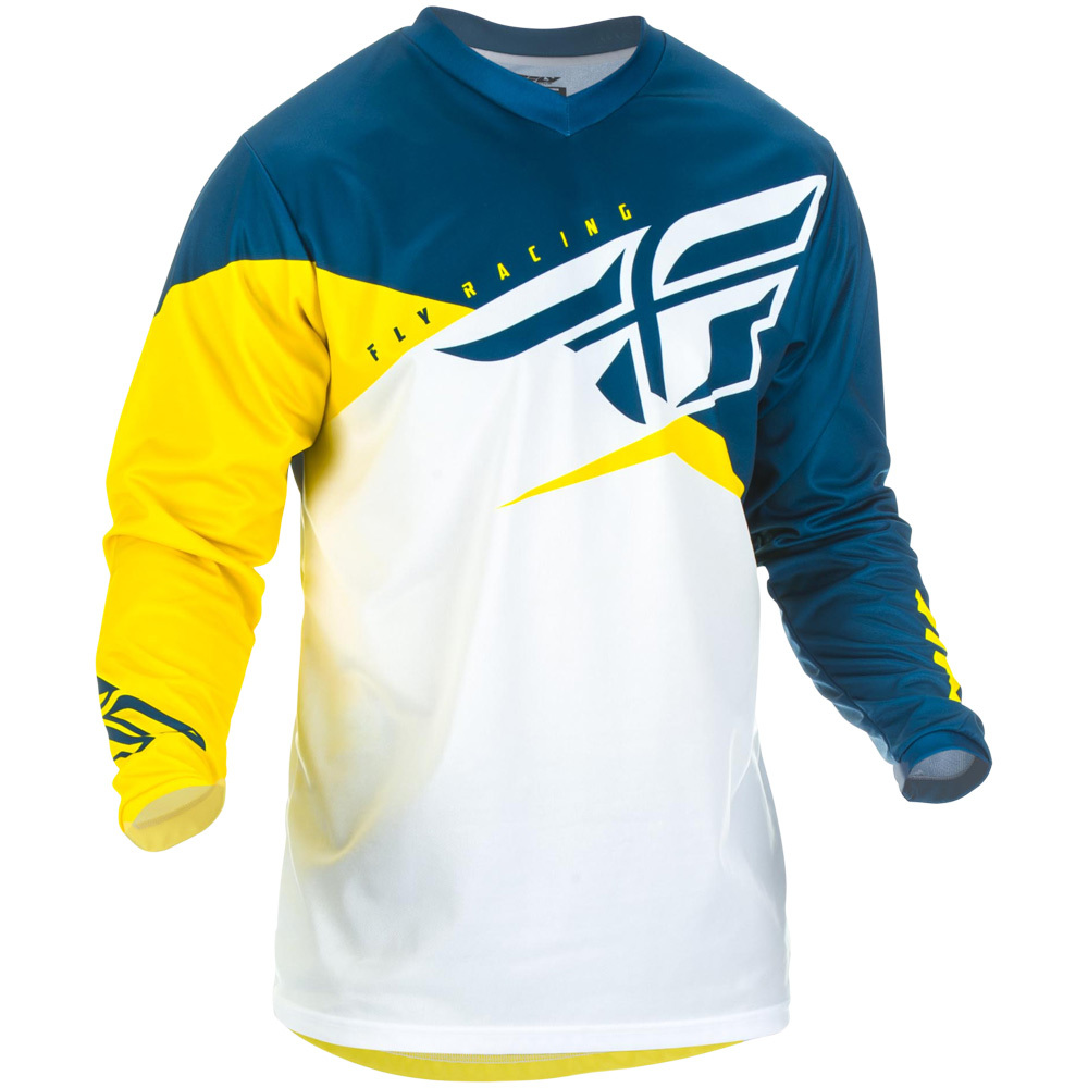 Fly Racing - 2019 F-16 Yellow/White/Navy джерси, желто-бело-синее