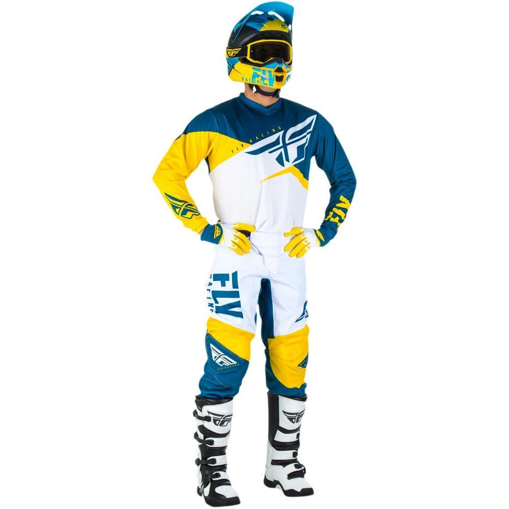 Fly - 2019 F-16 Yellow/White/Navy комплект джерси и штаны, желто-бело-синие