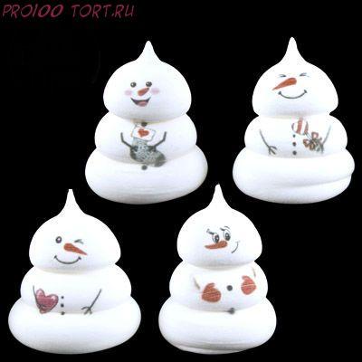 Сахарные фигурки Снеговичок (d30xh35мм) 1шт/уп