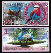 Сейшельские острова. Остров Альдабра - 3 Доллара 2017 UNC (Тропические птицы)