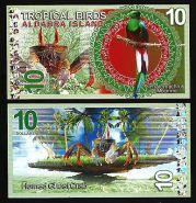 Сейшельские острова. Остров Альдабра - 10 Долларов 2017 UNC (Тропические птицы)