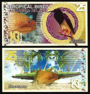 Сейшельские острова. Остров Альдабра - 25 Долларов 2017 UNC (Тропические птицы)