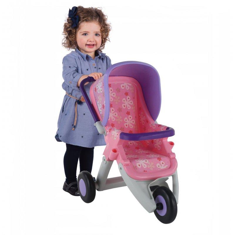 Коляска для кукол 3-х колёсная Полесье 48141 розовая