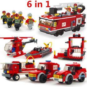 Конструктор Пожарная техника 6 в 1  Lego реплика 520 деталей