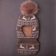 РБ Шапка-шлем с помпоном, орнамент Олени, коричневая