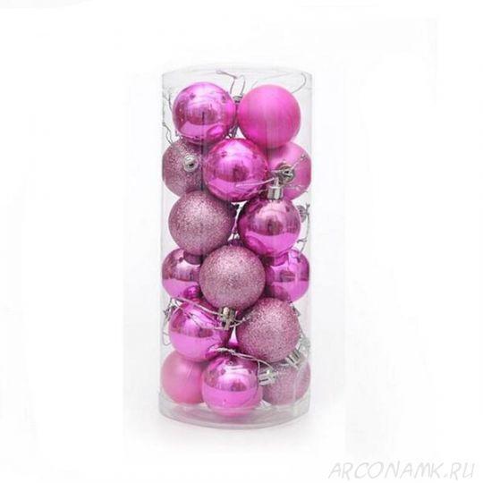 Набор украшений для елки Шары 5.5 см, 24 шт., Цвет: Розовый