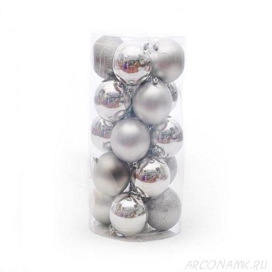 Набор украшений для елки Шары 4 см, 24 шт., Цвет: Серебро