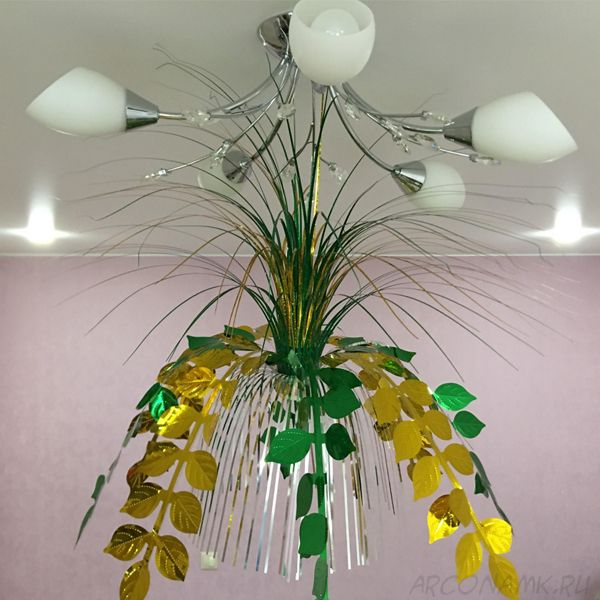 Подвесной фольгированный фонтан-каскад, 55 см., Листья