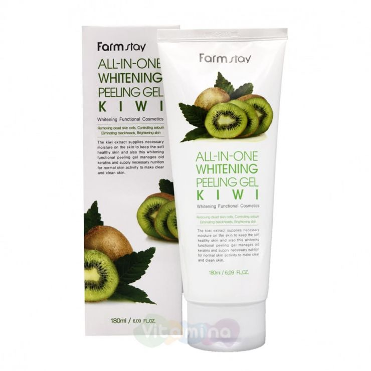 FarmStay Пилинг-скатка c экстрактом киви All In One Whitening Peeling Gel Cream Kiwi, 180 мл