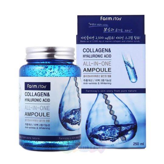 FarmStay Многофункциональная сыворотка с коллагеном и гиалуроновой кислотой Collagen & Hyaluronic Acid, 250 мл