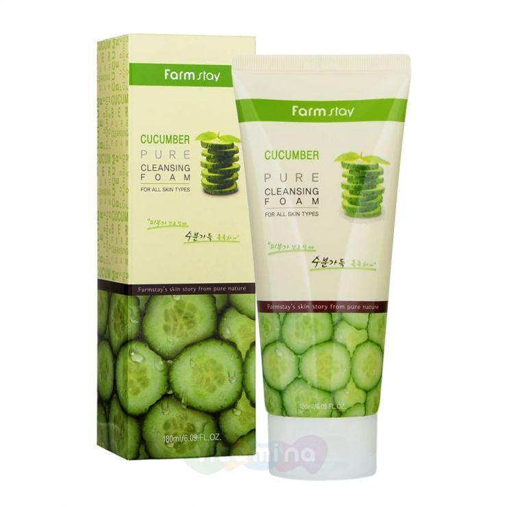 FarmStay Увлажняющая пенка для умывания с экстрактом огурца Cucumber Pure Cleansing Foam, 180 мл