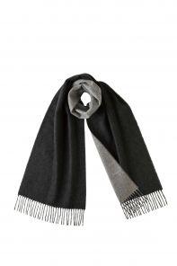 Роскошный двусторонний кашемировый шарф Гамильтон Контраст (Угольно-черный и Серый) Hamilton Contrast CHARCOAL & GREY REVERSIBLE  (100% драгоценный кашемир),   высокая плотность 7