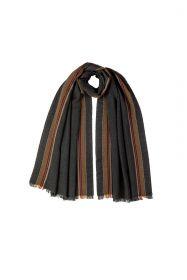 """тонкорунный широкий  шарф 100% шерсть мериноса,  расцветка """"Угольно Черный Страйп """" CHARCOAL SPORTS STRIPE MERINO ,  плотность 3"""