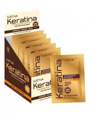 Маска для поврежденных и хрупких волос кератиновая KERATINA Kativa, 35 гр.*12 шт.