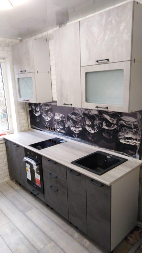 "Кухонный гарнитур ""Лофт"" бетон светлый/бетон тёмный"