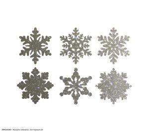 Вырубка ''Ассорти снежинок, набор - 6 видов по 1 шт, 4 см'' , глиттерный фоамиран 2 мм (1уп = 5наборов)