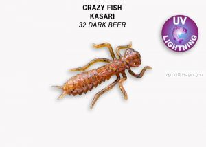 "Мягкая приманка Crazy Fish Kasari (Плавающий) 1,6"" 40мм / упаковка 6 шт/ цвет: 32-7 (запах креветка+кальмар)"