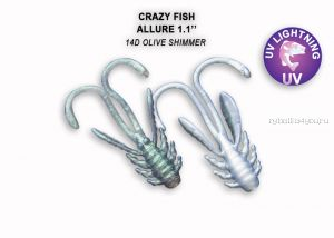 "Мягкая приманка Crazy Fish Allure 1,1"" 27мм / упаковка 10 шт / цвет: 14d-6 (запах кальмар)"