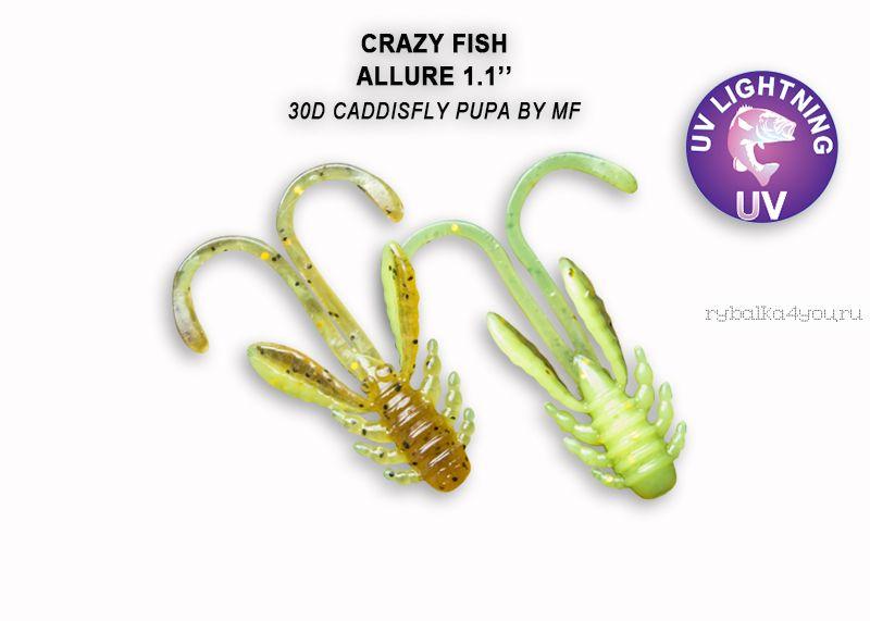"Мягкая приманка Crazy Fish Allure 1,1"" 27мм / упаковка 10 шт / цвет: 30d-6 (запах кальмар)"