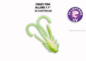 """Мягкая приманка Crazy Fish Allure 1,1"""" 27мм / упаковка 10 шт / цвет: 6-6 (запах кальмар)"""