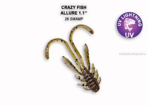 """Мягкая приманка Crazy Fish Allure 1,6"""" 40мм / упаковка 8 шт / цвет: 26-6 (запах кальмар)"""