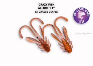 "Мягкая приманка Crazy Fish Allure 1,6"" 40мм / упаковка 8 шт / цвет: 8d-6 (запах кальмар)"