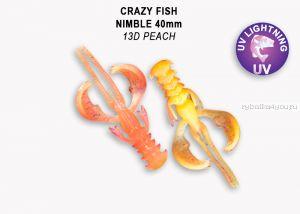 "Мягкая приманка Crazy Fish Nimble 1,6"" 40мм / упаковка 9 шт / цвет:13d-6 (запах кальмар)"