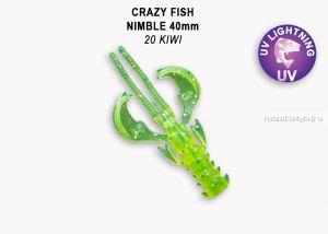 "Мягкая приманка Crazy Fish Nimble 1,6"" 40мм / упаковка 9 шт / цвет:20-6 (запах кальмар)"
