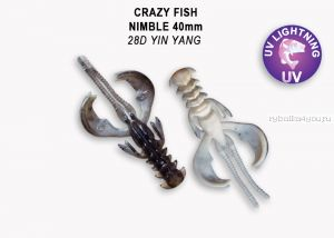 "Мягкая приманка Crazy Fish Nimble 1,6"" 40мм / упаковка 9 шт / цвет:28d-6 (запах кальмар)"