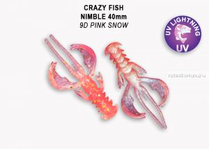 "Мягкая приманка Crazy Fish Nimble 1,6"" 40мм / упаковка 9 шт / цвет:9d-6 (запах кальмар)"