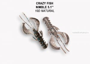 "Мягкая приманка Crazy Fish Nimble 4"" 100мм / упаковка 5 шт / цвет:10d-6 (запах кальмар)-V"