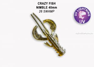 "Мягкая приманка Crazy Fish Nimble 4"" 100мм / упаковка 5 шт / цвет:26-6 (запах кальмар)-V"