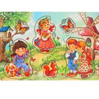 Развивающая игрушка: рамка-вкладка  «Дети на природе»