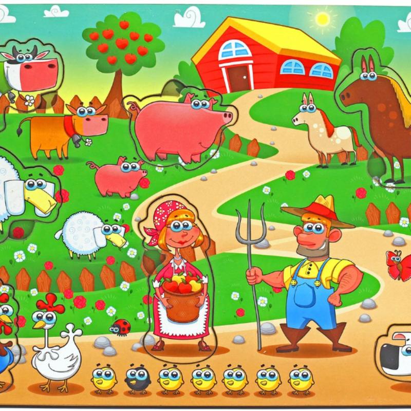Развивающая игрушка: рамка-вкладка  «Большая ферма»