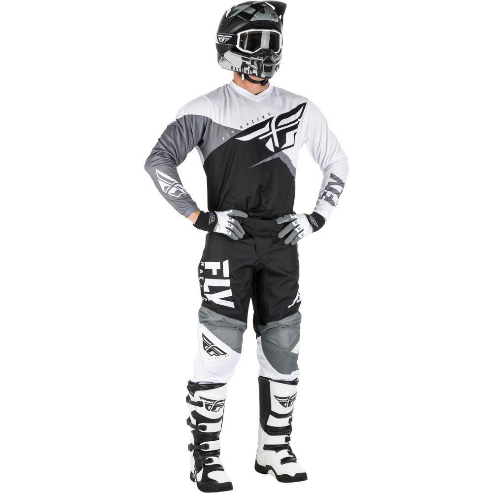 Fly - 2019 F-16 Black/White/Grey комплект джерси и штаны, черно-бело-серые