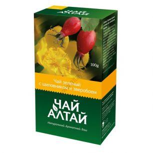 «Чай Алтай» зеленый с шиповником и зверобоем, 100 гр