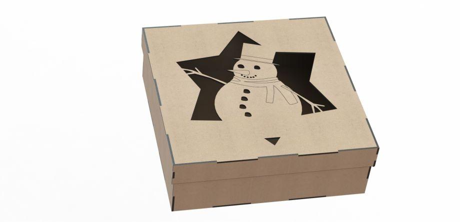 Подарочная коробка со снеговиком